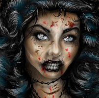 Gothic zombie girl face by darkriddle1