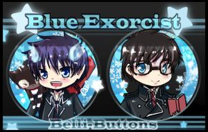 Blue Exorcist Buttons by jinyjin