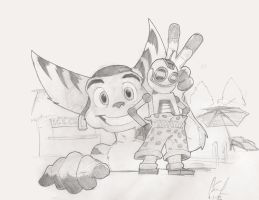 Ratchet and Clank giftart by charco