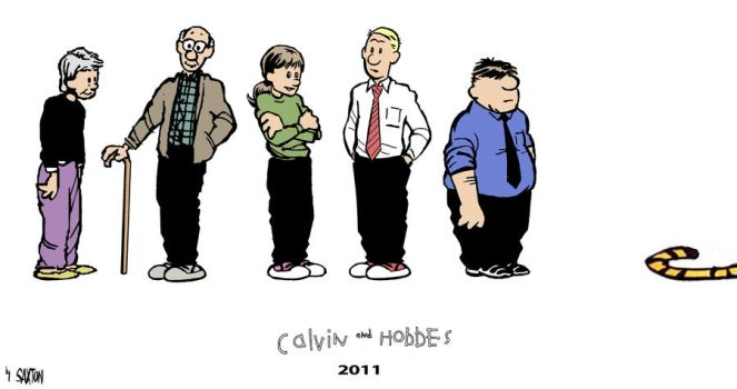 Calvin + Hobbes 16 years later by SamSaxton