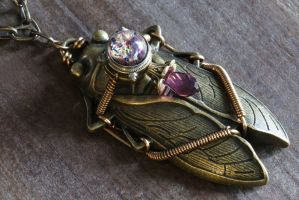 Steampunk Amethyst Cicada Pendant by CatherinetteRings