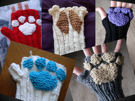 Custom Knit Animal Fingerless Gloves by Elmira-san