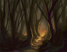 Forest Sunset - Speedpainting by keysan