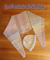 Multicolor Baktus Scarf with matching Hat by lefantasiedinephtys