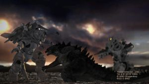 Godzilla vs. two Mechagodzillas by Awesomeness360