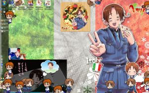 Hetalia filled desktop Italy by catalinarose