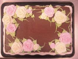 Roses on chocolate by AingelCakes
