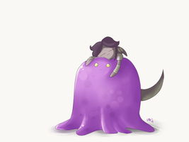 A Girl and Her Blob by LlamaDoodle