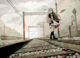 Anime Girl on Track 3-D conversion by MVRamsey
