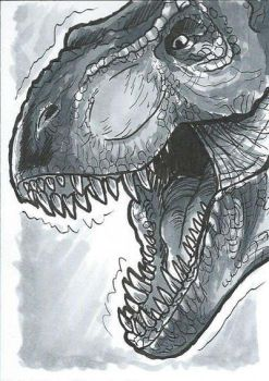 T-rex Copic Marker Sketch Card by sugarpoultry