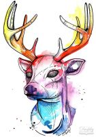 Watercolour Deer by dushky