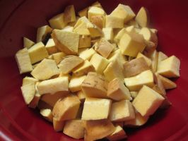 A Bowl of Raw White Sweet Potatoes by Windthin