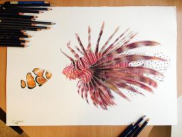 Fish Friends Pencil Drawing by AtomiccircuS