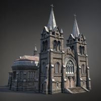 Gothic cathedral. 3d game low-poly by Sergey-Ryzhkov