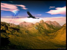 The Eagle on the Setting Sun by angelwillz