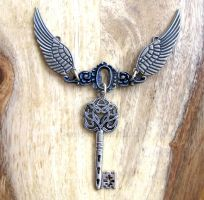 Steampunk Necklace wings by GraceCM