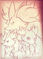 Fennekin Evolution by idolnya