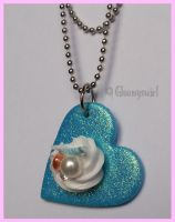 Whipped cream heart necklace by Gloomyswirl