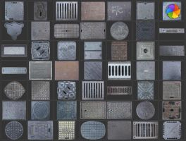 Manholes textures. by plaintextures