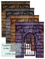 TW3D Castle wall with door by TW3DSTOCK