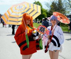 Yukata Rei and Asuka at Anime North 2014 by Lightning--Baron