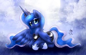 MLP FIM - Princess Luna Night Relaxing by Joakaha