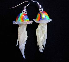 RainbowJ jellyfish earrings by carmendee