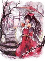 reimu and tori in the rain by qianshuhao