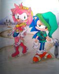 Amy and Sonic ready for Hyrule by aloneintown