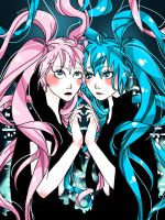 :.Megurine Luka and Hatsune Miku.: by Joanna97