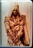 Ezio Auditore from Assassin's Creed Woodburn by FreedomSparrow3