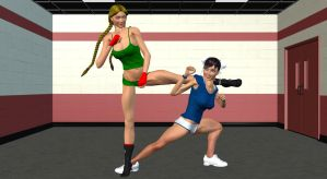 ChunLi and Cammy Spar in the Gym 2 by Chingafakes