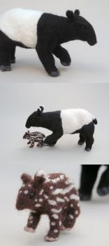 Needlefelted Tapir and Calf by creturfetur