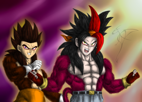 Saf and Luk SSJ4 color by FanDragonBall