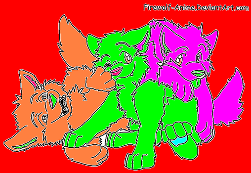 Three Wolf Pups Lineart By Firewolf Anime-d36x by wolfguardian24