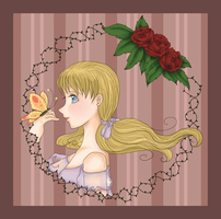 A girl, butterfly and roses by CielCiella
