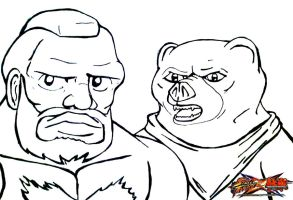 Street Fighter X Tekken - Zangief and Kuma Fan Art by BlakeJamesEpicArt