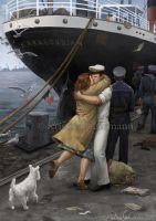 Reunion at Ostend Harbour - Homecoming - 1945 by KristinaGehrmann