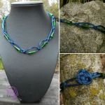 Blue Green Cross Knot Necklace by RebeccaMArt