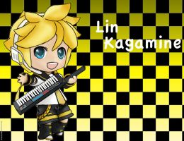 Lin Kagamine in chibi form by IfreakenLoveDrawing