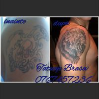 lion tattoo cover up by tattoobrasov
