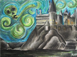 Starry Hogwarts Night by cookiemonster1597