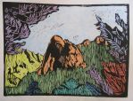 Lily Rock, Idyllwild (color lino cut print) by tahquitzpeakartist