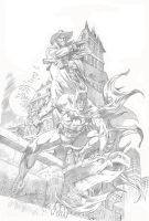 BATMAN AND SHADOW ( pencil) by RAFAELGALLUR