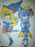 Yugioh-Dark Magician Girl and Blizzard Princess by BlueEmeraldTeal
