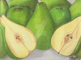 Green pears-pencil colours coluring practice2 by HoshiBlue21