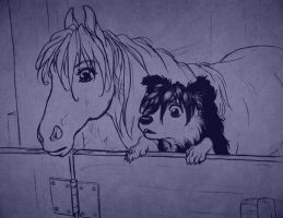 Quatre Horse and Duo Dog by SapphireGamgee