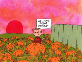 Welcome great pumpkin - painting on canvas by Mari-Kyomo