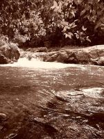 Swimmimg hole In Sepia by elyobkram