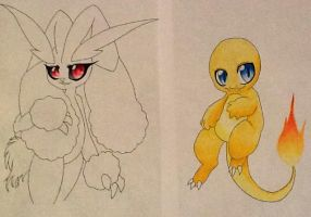 Lopunny and the Golden Charmander by TurquoiseWolfStar7